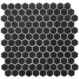 Bedrosians Minimal 10 Pack Black Porcelain Hexagon Mosaic Tile Common 12 In