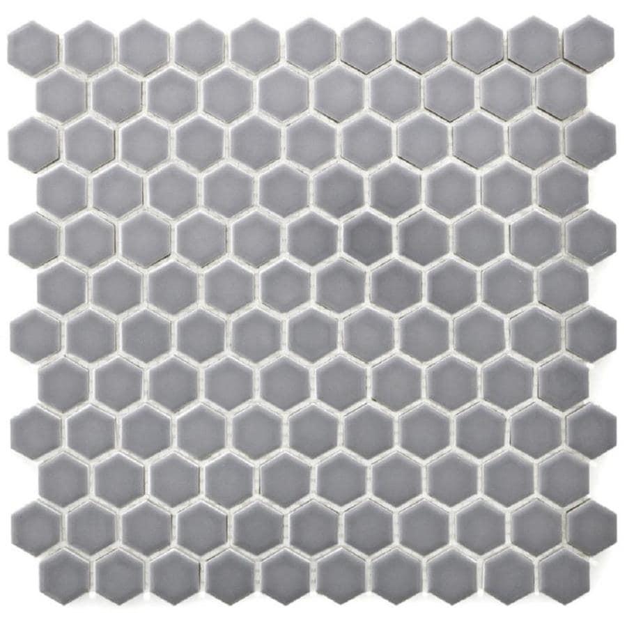 Bedrosians Minimal 10 Pack Grey Porcelain Hexagon Mosaic Floor And Wall Tile Common