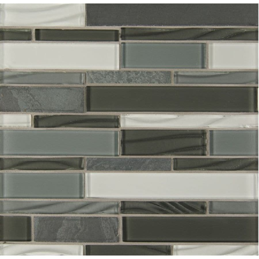 Bedrosians Intrigue Mosaics Pewter Grey Mosaic Gl Metal Stone Wall Tile Common