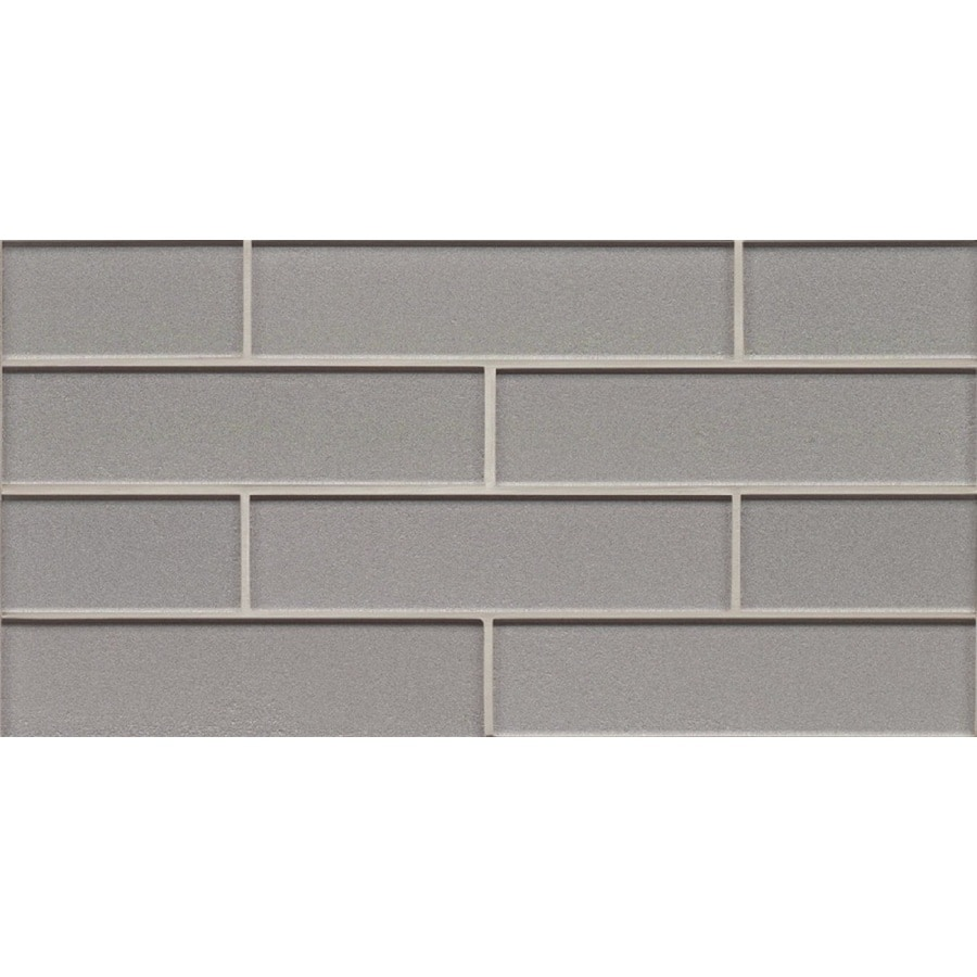 Shop Bedrosians Manhattan Platinum Brick Mosaic Glass Subway Tile ...
