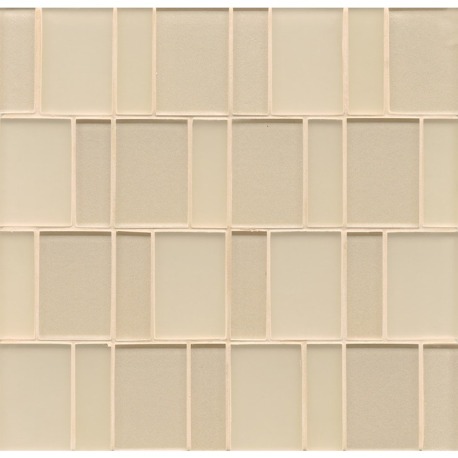 Bedrosians 12-in x 12-in Manhattan Cashmere Glass Mosaic Subway Wall Tile (Actuals 12-in x 12-in)