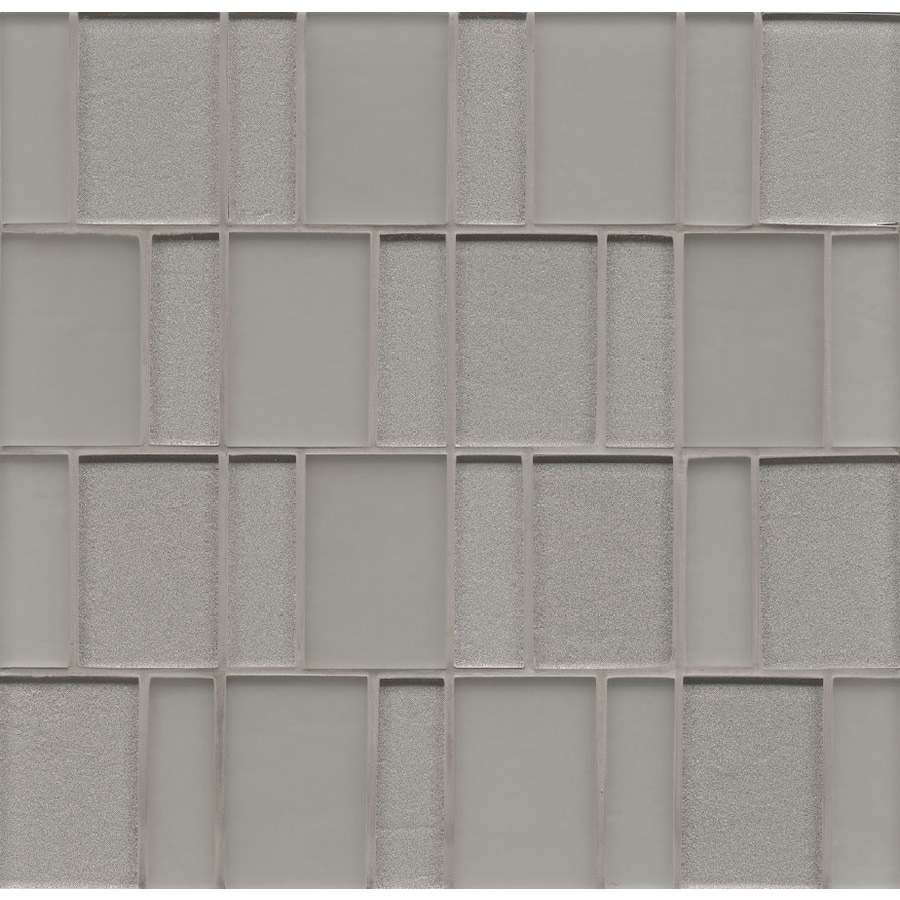 Bedrosians Manhattan Platinum Brick Mosaic Glass Wall Tile (Common: 12-in x 12-in; Actual: 12-in x 12-in)