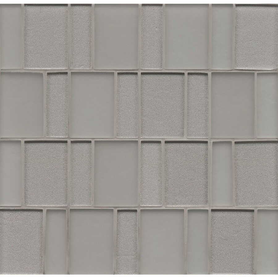 Bedrosians Manhattan Platinum Mosaic Glass Wall Tile (Common: 12-in x 12-in; Actual: 12-in x 12-in)