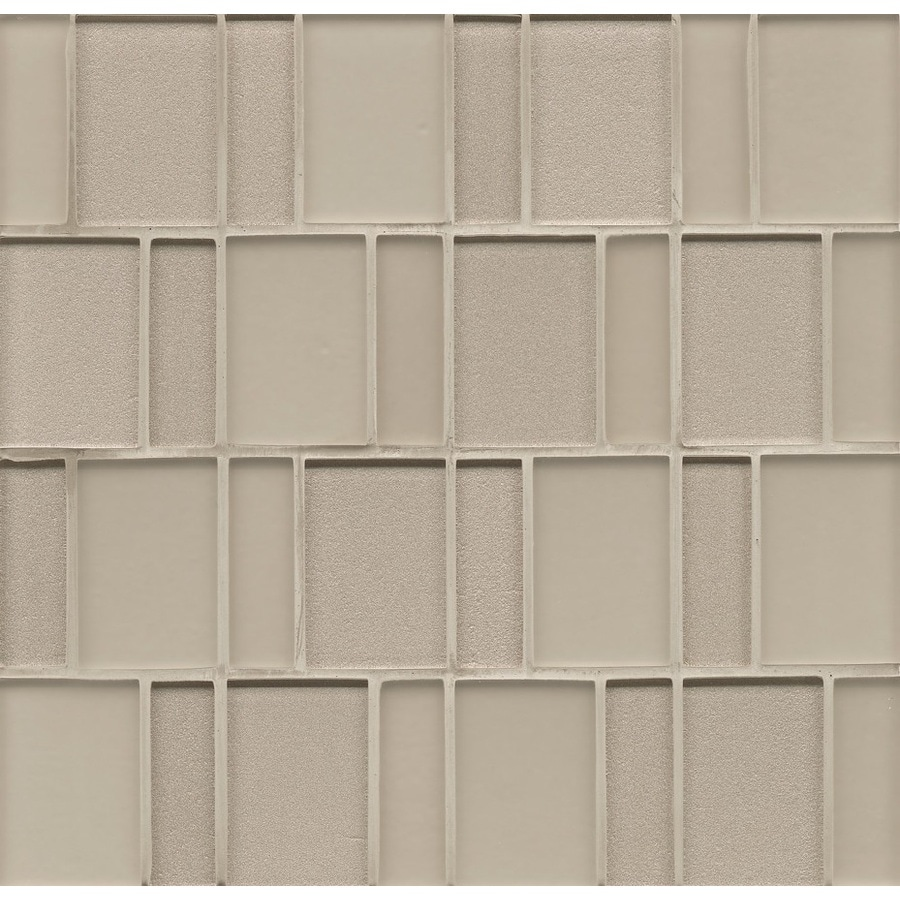 Bedrosians 12-in x 12-in Manhattan Silk Glass Mosaic Subway Wall Tile (Actuals 12-in x 12-in)