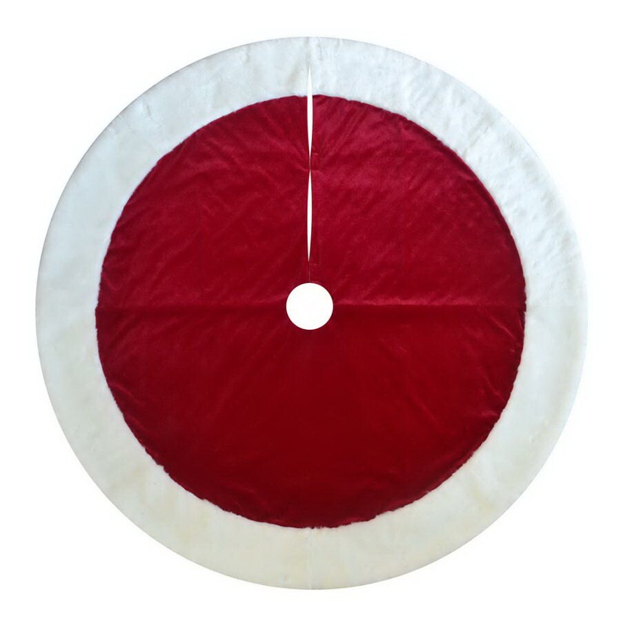 Lowes Christmas Tree Skirts: Holiday Living 72-in Red Traditional Christmas Tree Skirt