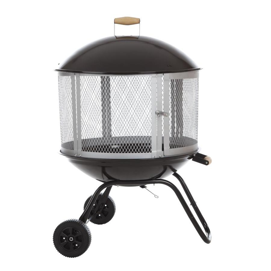 Fire Sense 28-in W Black Steel Wood-Burning Fire Pit