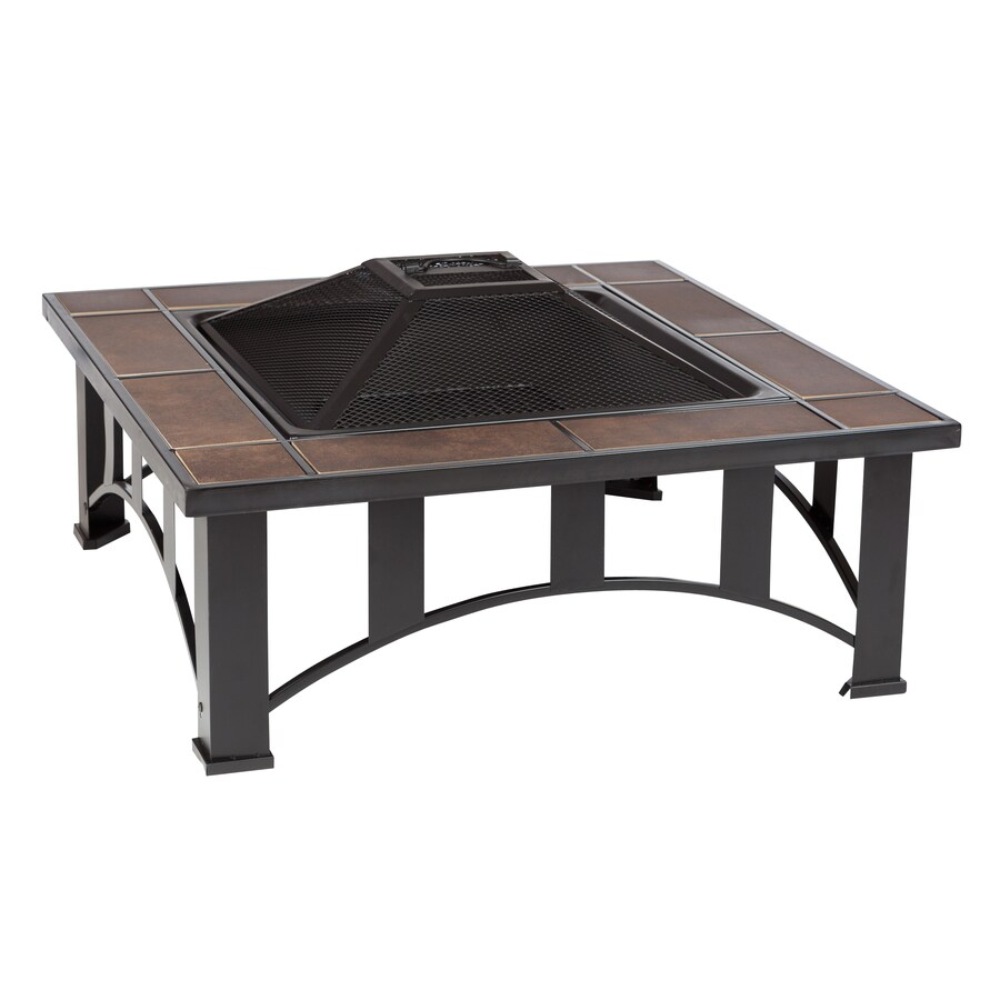 Fire Sense 34-in W Black Steel Wood-Burning Fire Pit