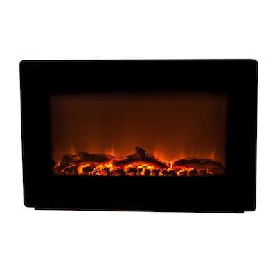 30 In W Black Fan Forced Electric Fireplace