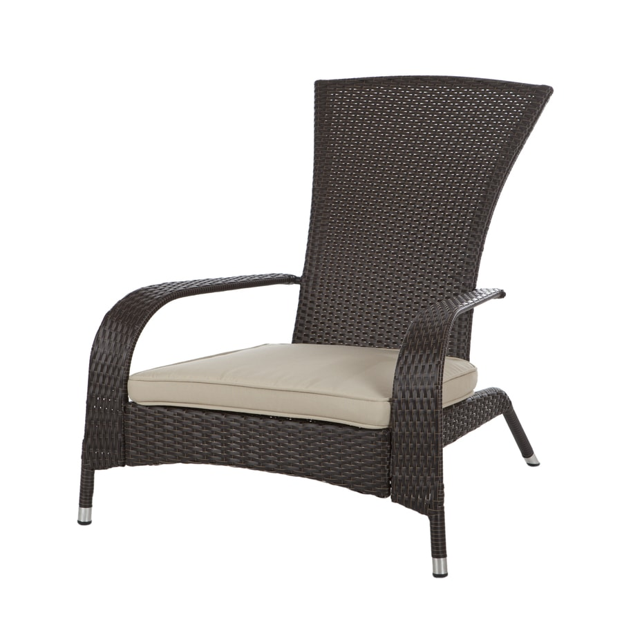 Patio Sense Mocha Wicker Patio Adirondack Chair with Beige Cushions