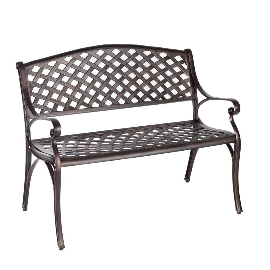 Shop patio sense 17 in w x l aluminum patio bench at Lowes garden bench