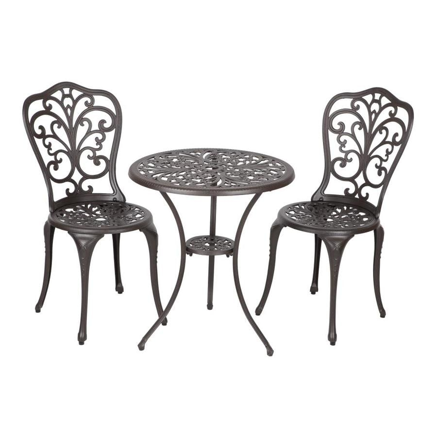 Patio Sense Faustina 3-Piece Bronze Aluminum Bistro Patio Dining Set