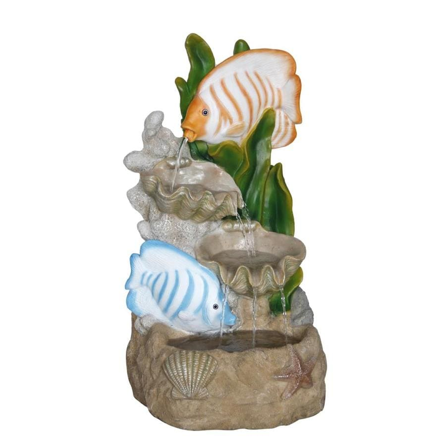 Shop garden treasures 2314 in resin tiered fountain at for Lowes garden treasures