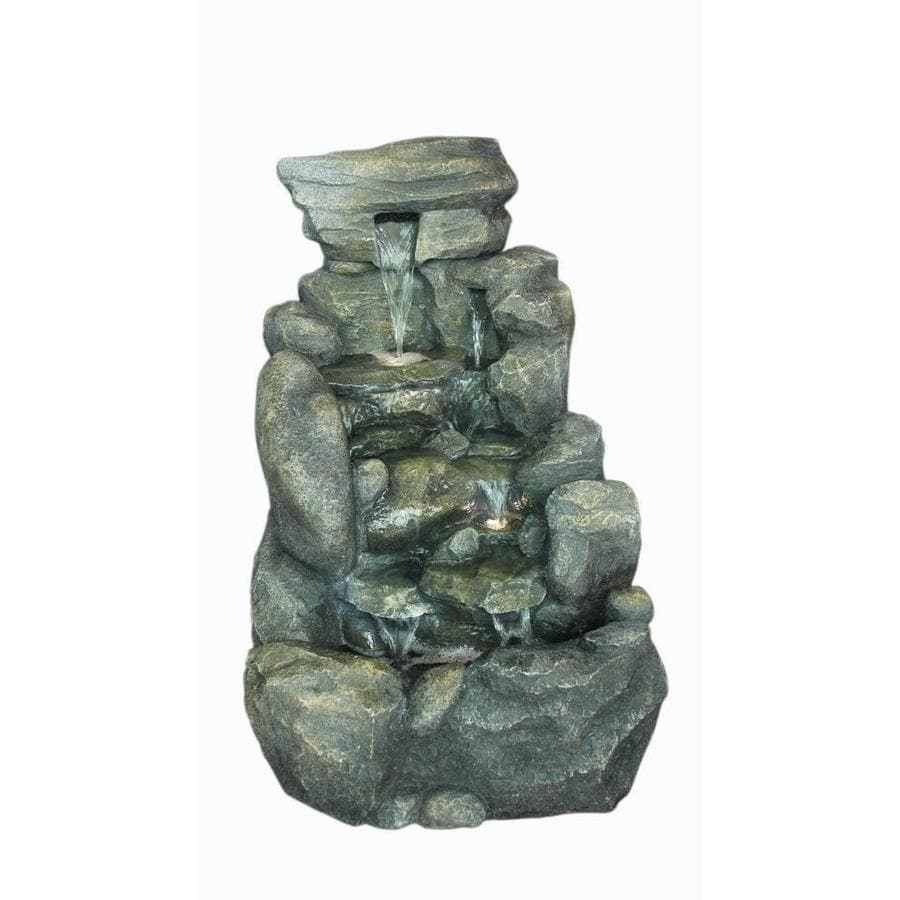 Garden Treasures 26 8 In Resin Rock Waterfall Outdoor Fountain