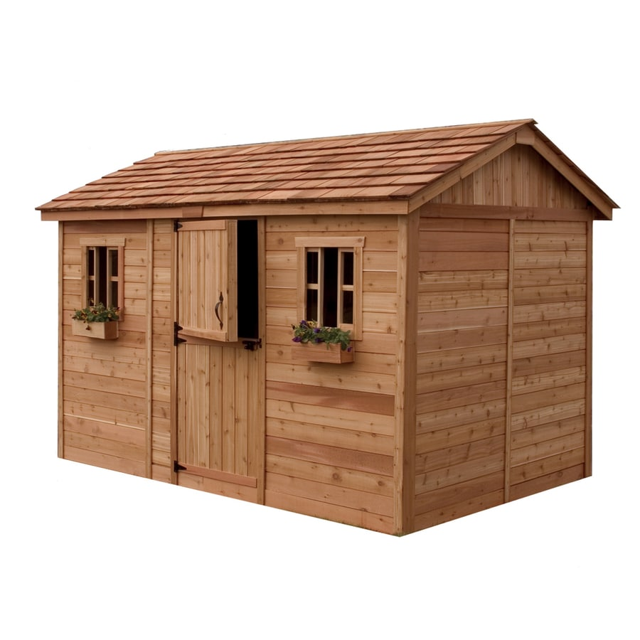 Outdoor Living Today (Common: 12-ft x 8-ft; Interior Dimensions: 11.38-ft x 7.85-ft) Gable Cedar Wood Storage Shed (Installation Not Included)