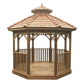 Outdoor Living Today Natural Cedar Wood Gazebo Foundation 14 Ft X