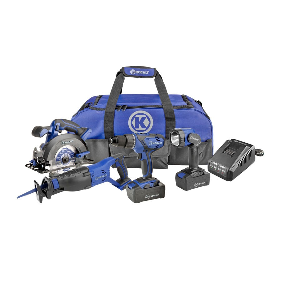 Kobalt 4-Tool 18-Volt Nickel Cadmium (Nicd) Brushed Motor Cordless Combo Kit with Soft Case