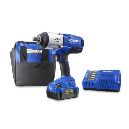 1 2 Cordless Impact >> Kobalt 24 Volt Max 1 2 In Drive Variable Brushless Cordless Impact Wrench 1 Battery Included And Charger Included At Lowes Com