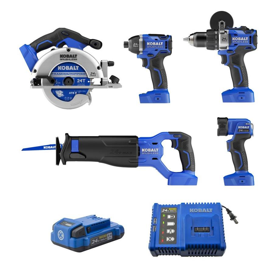 Kobalt 5-Tool 24-Volt Max Lithium Ion  Cordless Combo Kit with Soft Case