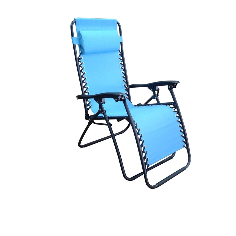Garden Treasures Steel Chaise Lounge Chair+E36 With Blue Sling
