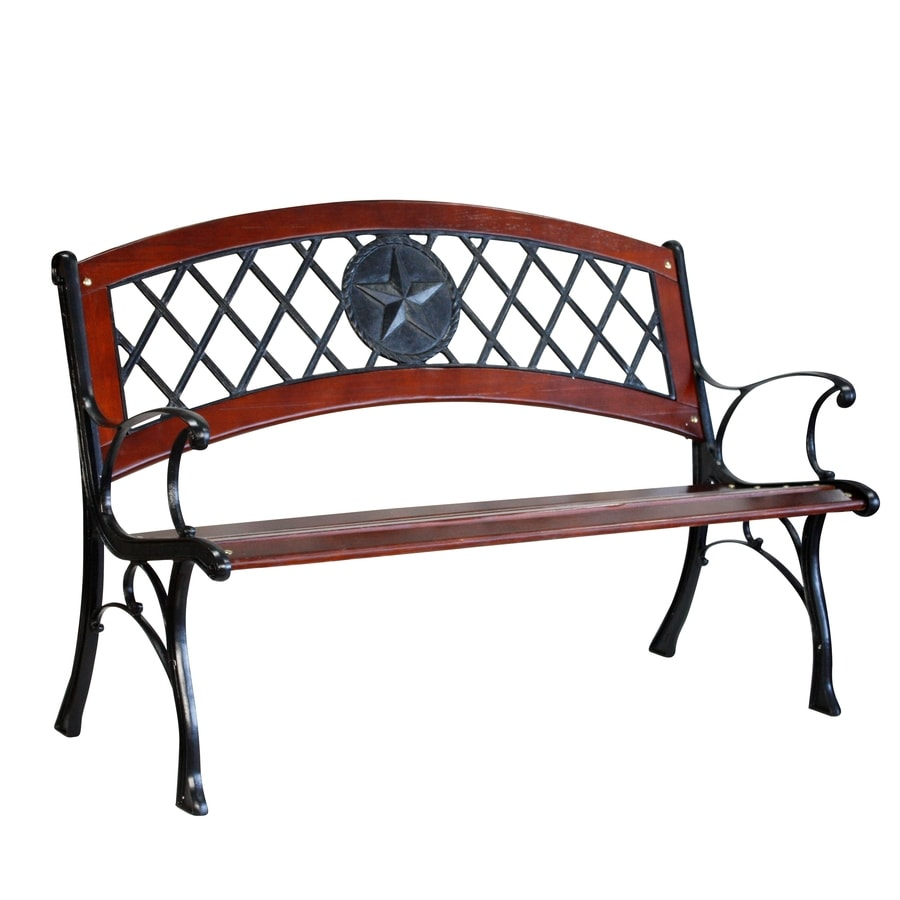 Garden Treasures 25.95-in W x 49.5-in L Brown Steel Patio Bench
