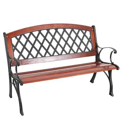 Tremendous 25 95 In W X 50 In L Brown Steel Patio Bench Gmtry Best Dining Table And Chair Ideas Images Gmtryco