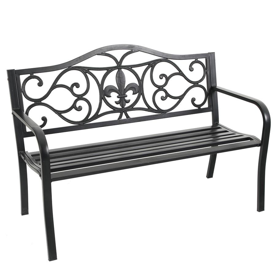 Garden Treasures 23.5-in W x 50.4-in L Black Steel Patio Bench