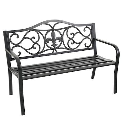 Marvelous 50 4 In W X 35 In L Black Patio Bench Evergreenethics Interior Chair Design Evergreenethicsorg