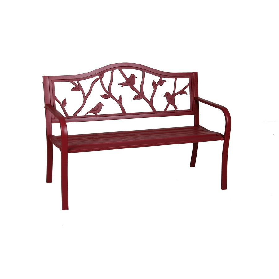Shop garden treasures 23 5 in w x 50 4 in l red steel patio bench at Yard bench
