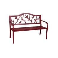 Garden Treasures 23.5-in W x 50.4-in L Red Steel Patio Bench Deals