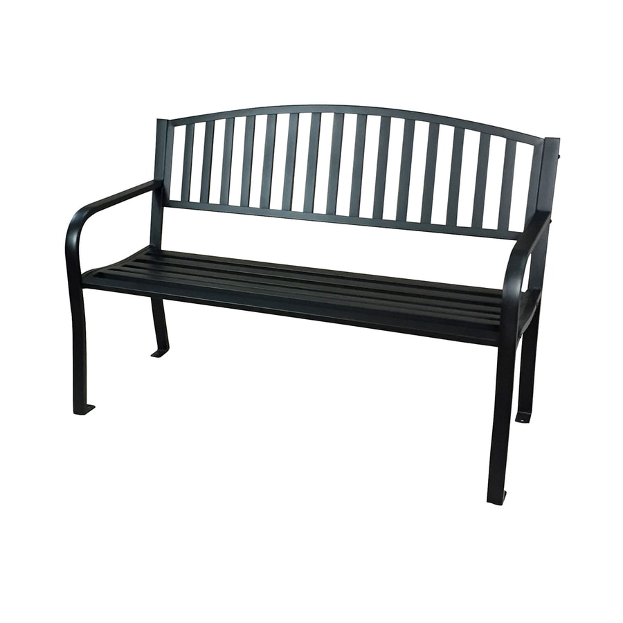 Garden treasures 23 63 in w x 50 in l black steel patio bench