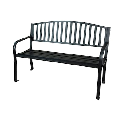 Sensational 50 In W X 34 25 In L Black Patio Bench Machost Co Dining Chair Design Ideas Machostcouk