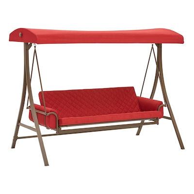 3 Person Red With Brown Powder Coated Frame Steel Outdoor Swing