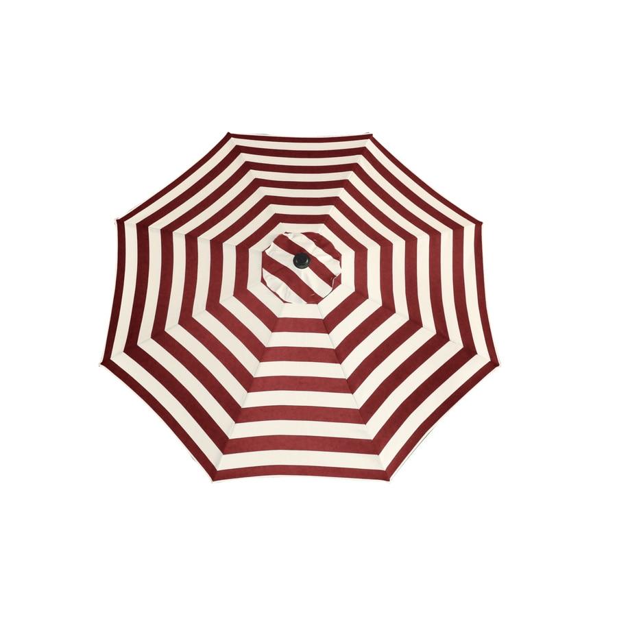 Garden Treasures Red Cabana Market Patio Umbrella (Common: 9-ft W x 9-ft L; Actual: 9-ft W x 9-ft L)