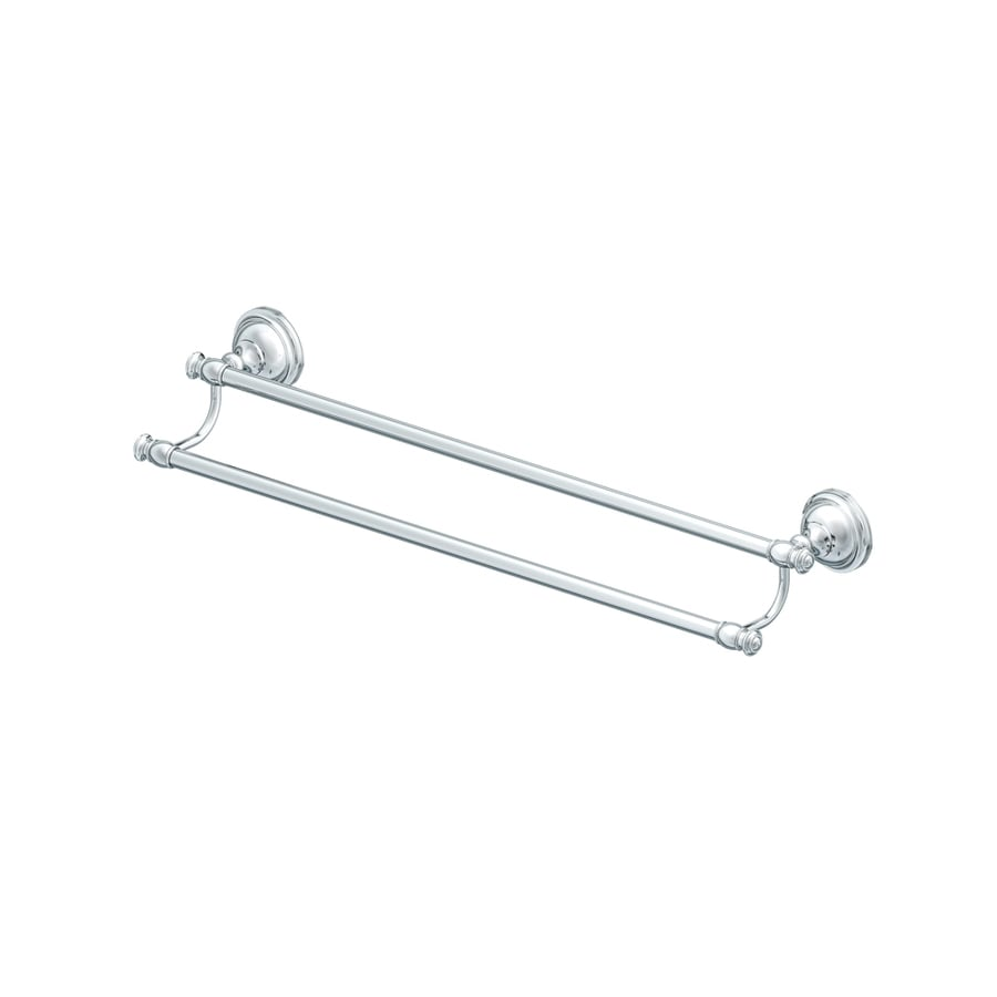allen + roth Raleigh Polished Chrome Double Towel Bar (Common: 24-in; Actual: 26.8-in)