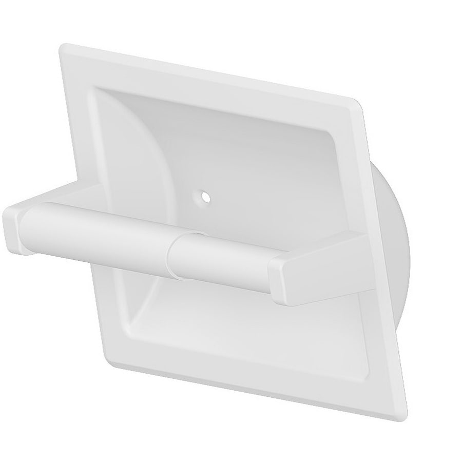 Project Source Seton White Recessed Spring-Loaded Toilet Paper Holder