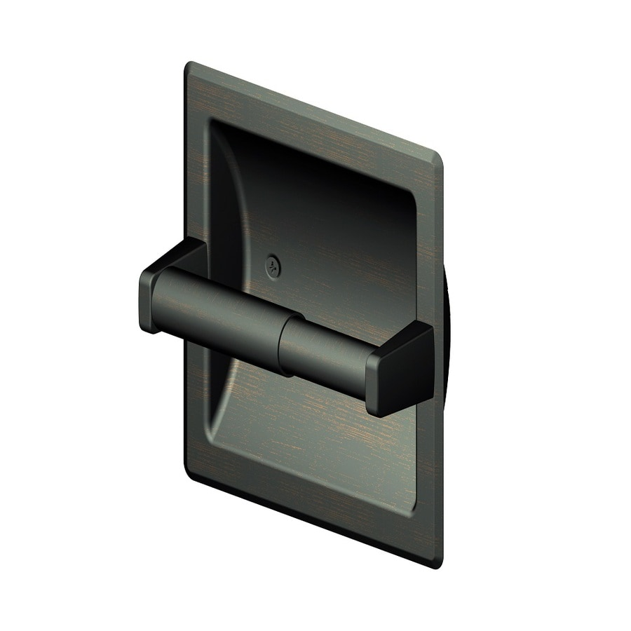 Project Source Seton Oil-Rubbed Bronze Recessed Spring-Loaded Toilet Paper Holder