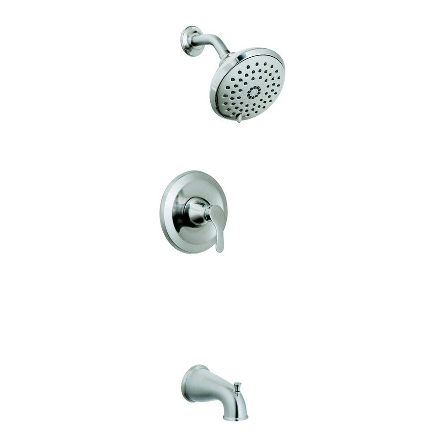 AquaSource Garner Brushed Nickel Pvd 1-Handle Bathtub and Shower Faucet with Multi-Function Showerhead