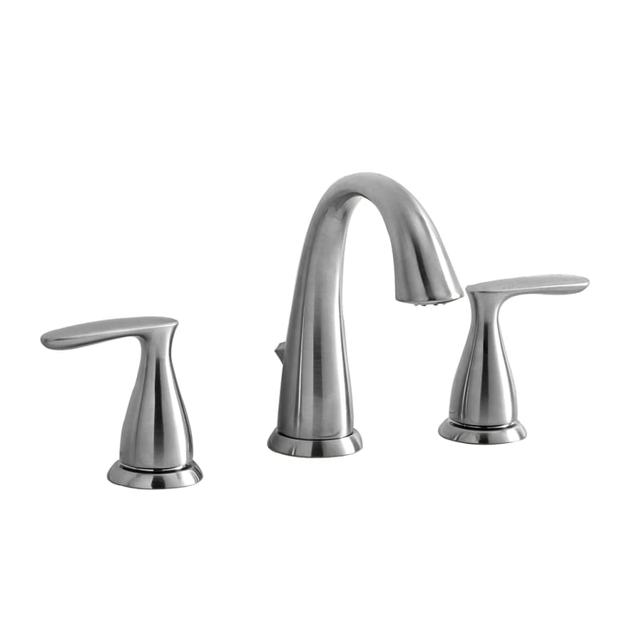 Shop aquasource brushed nickel 2 handle widespread for Bathroom faucets lowes