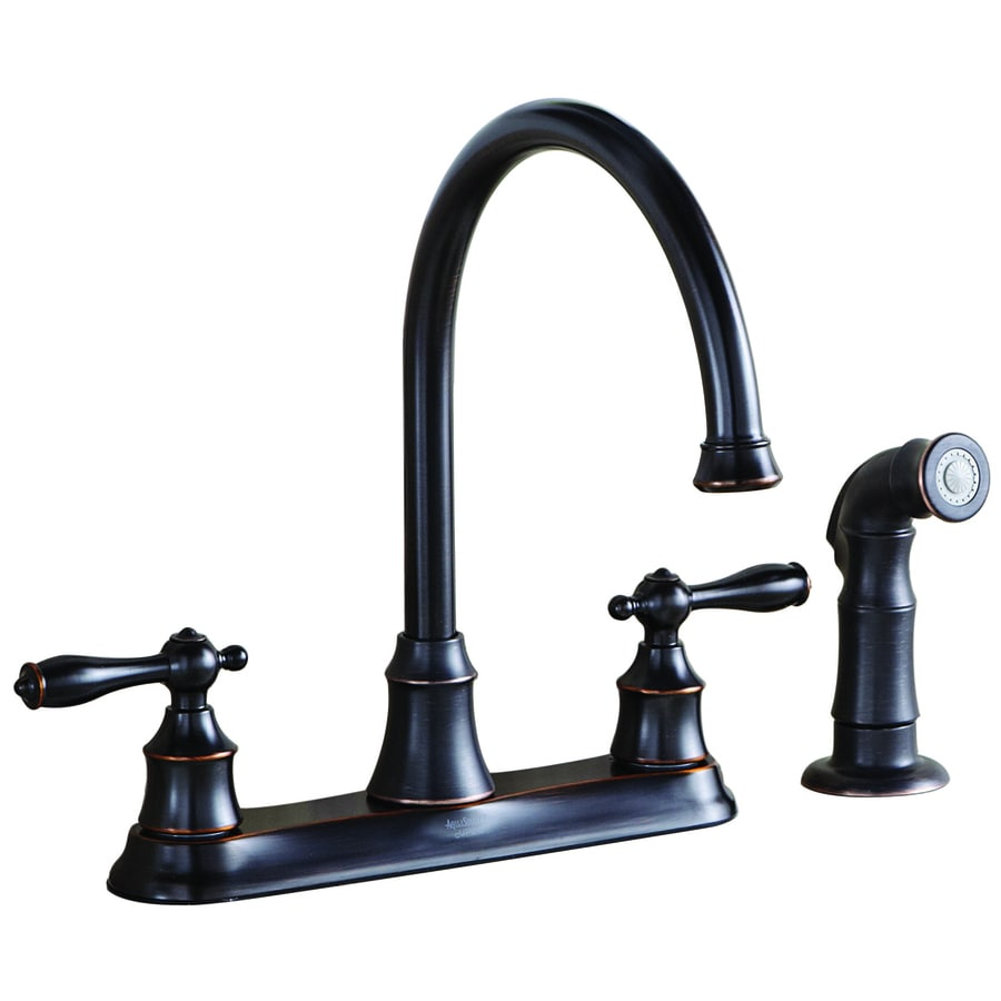 aquasource oil rubbed bronze 2 handle high arc kitchen faucet