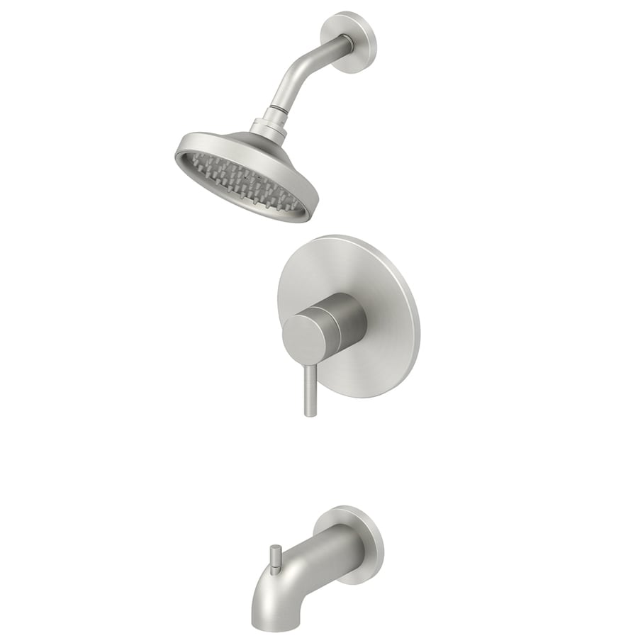 Jacuzzi Duncan Brushed Nickel PVD 1-Handle WaterSense Bathtub and Shower with Single Function Showerhead