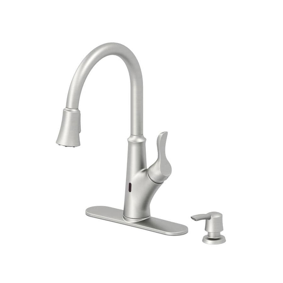 Jacuzzi Lofton Stainless Steel 1 Handle Deck Mount Pull Down Touchless  Commercial Kitchen Faucet