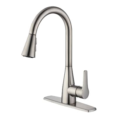 Stainless Steel 1-Handle Deck Mount Pull-down Residential Kitchen Faucet