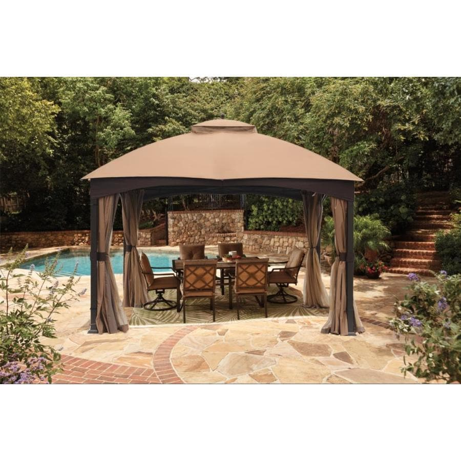 Allen + Roth Brown Metal Rectangle Screened Gazebo (Exterior: 10.662 Ft X  12.795