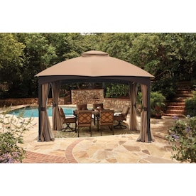 allen + roth Brown Metal Rectangle Screened Gazebo (Exterior: 10.662-ft x 12.795-ft; Foundation: 10-ft x 12-ft)