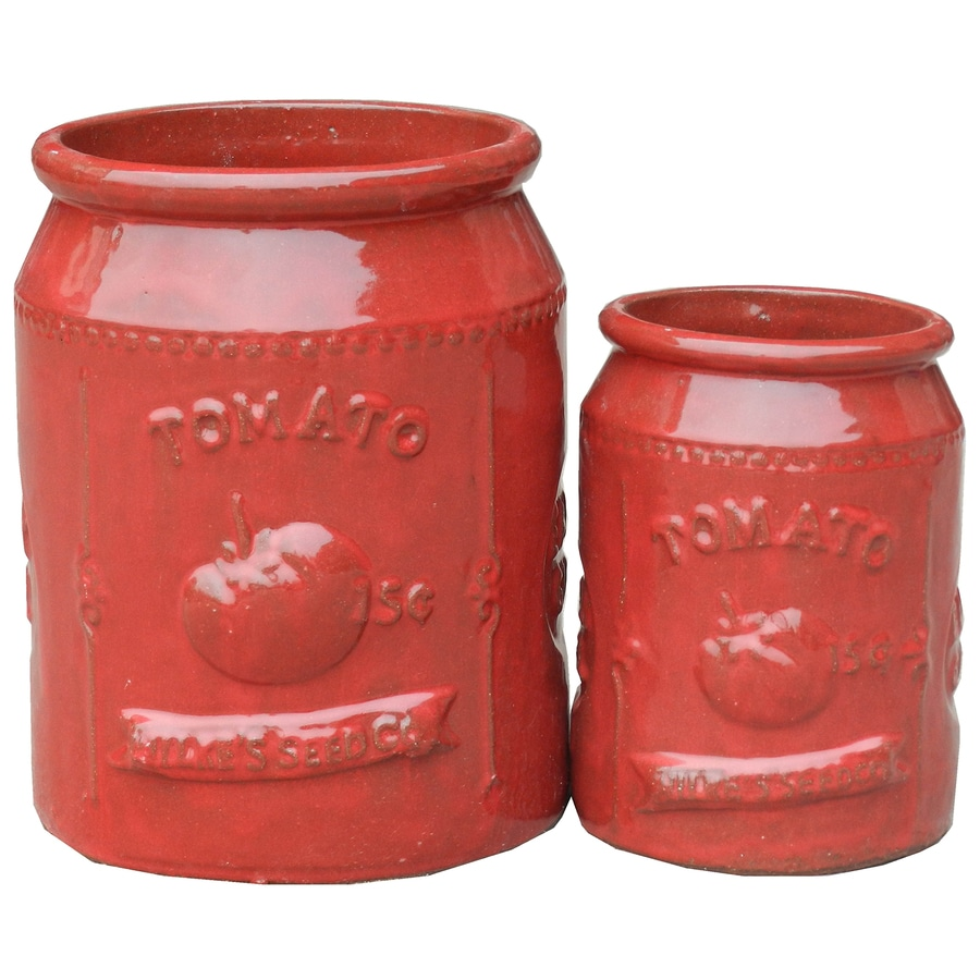 2-Pack 10.25-in x 13-in Vivid Red Ceramic Round Planters