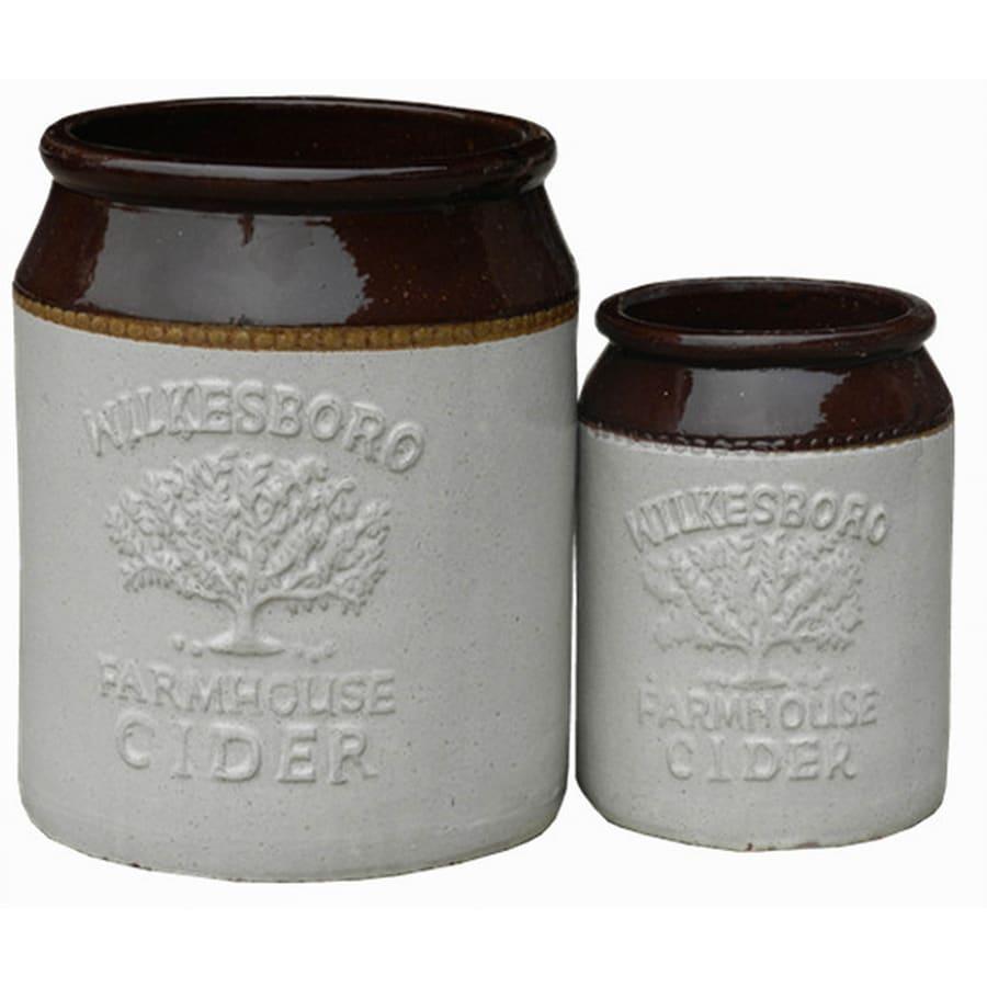 2-Pack 10.25-in x 13-in Espresso Brown Ceramic Round Planters