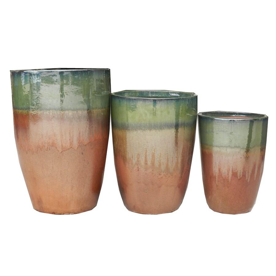 3-Pack 17-in x 24-in Copper Ceramic Round Planters