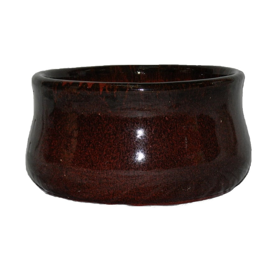 8.6-in x 4.9-in Tropic Red Ceramic Self Watering Designed with A Unique Reactive Glaze Planter