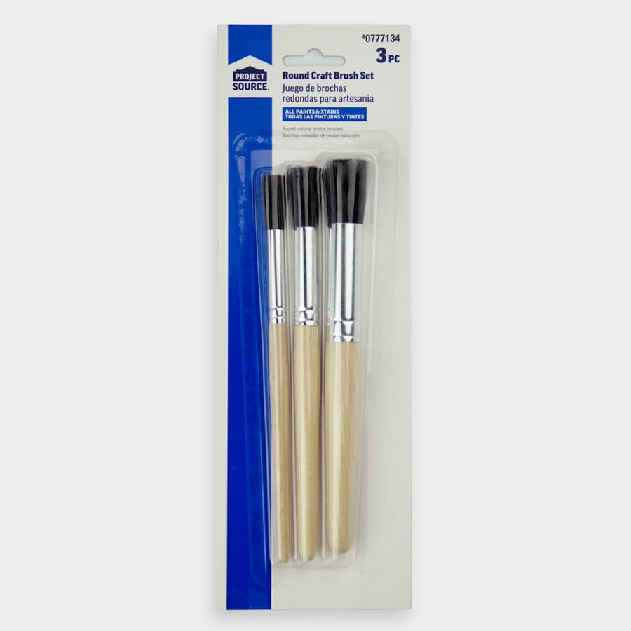 Blue Hawk 3-Pack Natural Bristle Craft Paint Brushes Variety Pack (Common: 0.56-in; Actual: 0.56-in)