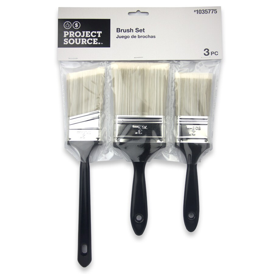 Project Source 3-Pack Utility Polyester Flat and Angle 3-in Paint Brush